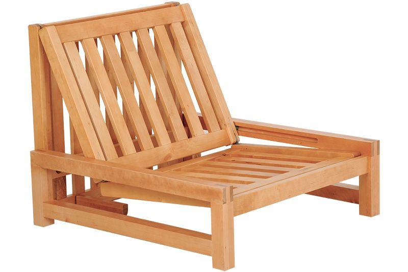 Linear Single Seater Solid Birch Sofa Bed Futon Mattress