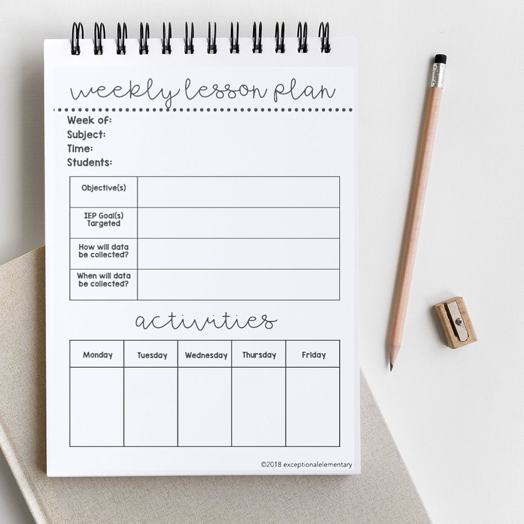 Sped Lesson Planner In