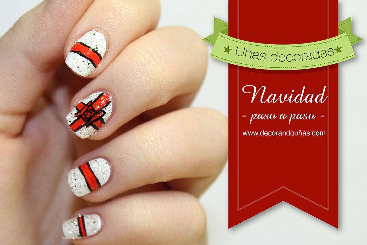 uas decoradas para navidad u tutorial paso a paso decoracin de uas manicura y