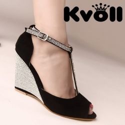 2c8e1f1650af L74071 Kvoll Fashion Rhinestone Peep-toe Wedge Heel Sandals Black  L74071   -  21.25   China