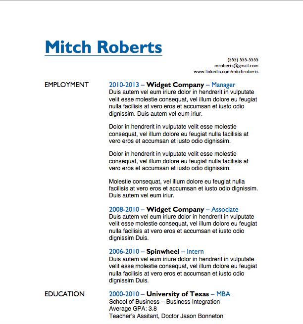 Free Resume Download Simple - Microsoft Word Format