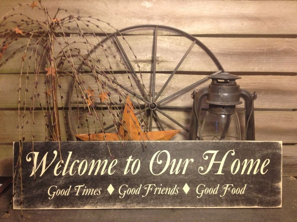 Country Primitive Handmade Wooden Welcome To Our