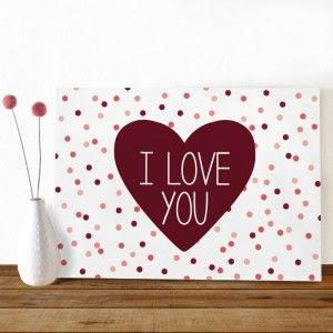 Happy Confetti I love you, een vrolijke kaart met confetti in rood en roze tinten. Gespot op @Oktoberdots | Babet