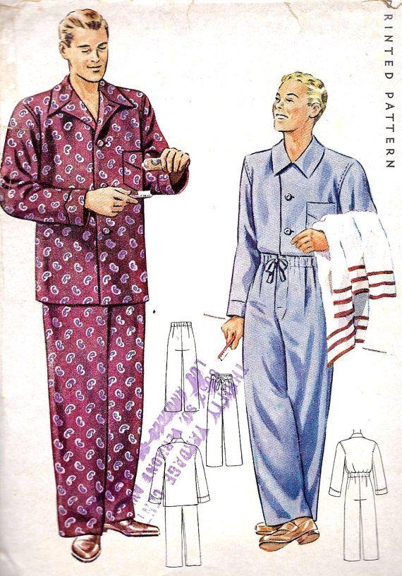 1940s Men s Pajamas Vintage Sewing Pattern by MissBettysAttic ... afe0c6d2c