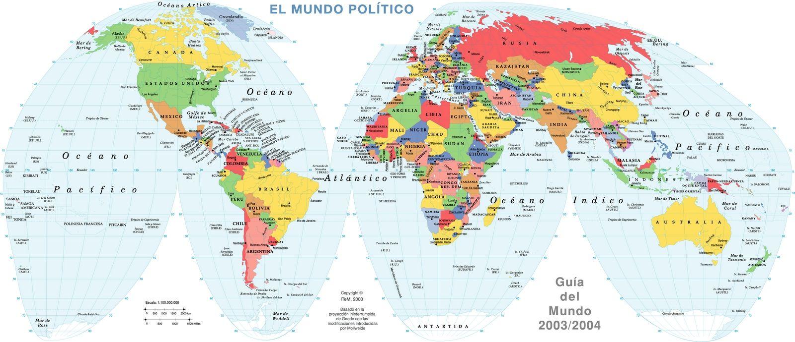 Mapa Planisferio con División Política para imprimir | GEOGRAFIA ...