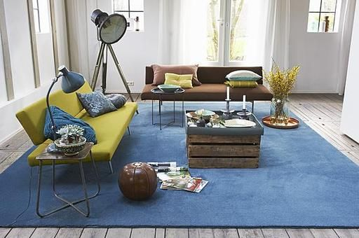 Living Room With Big Blue Carpet And Green Amp Brown Couch
