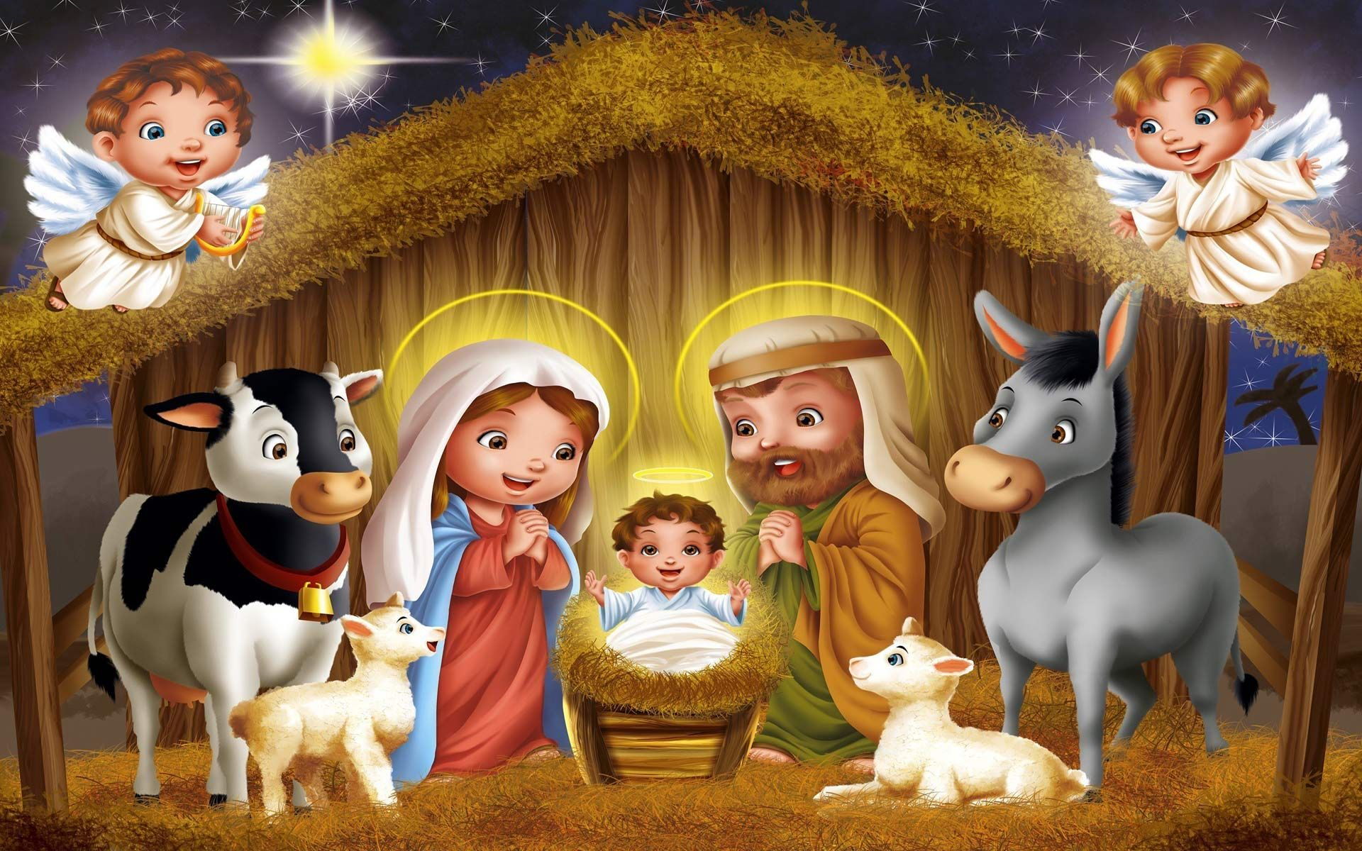 free christmas nativity scene computer desktop wallpaper