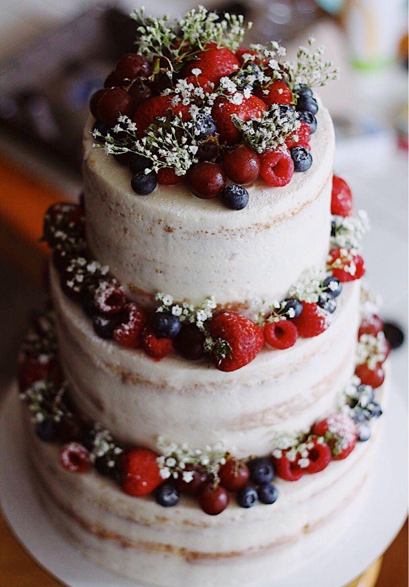 Photo of [homemade] a semi naked vanilla cake with fresh fruit Food Recipes