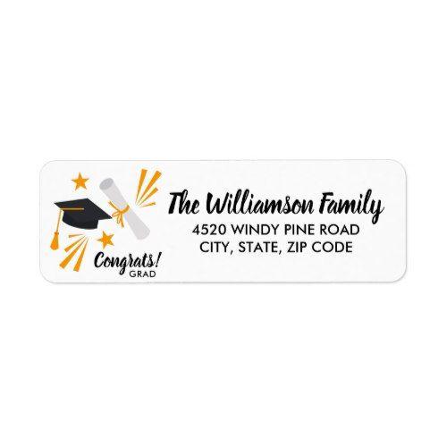 Graduation Cap Mortar Board Diploma Custom Address Label  Custom