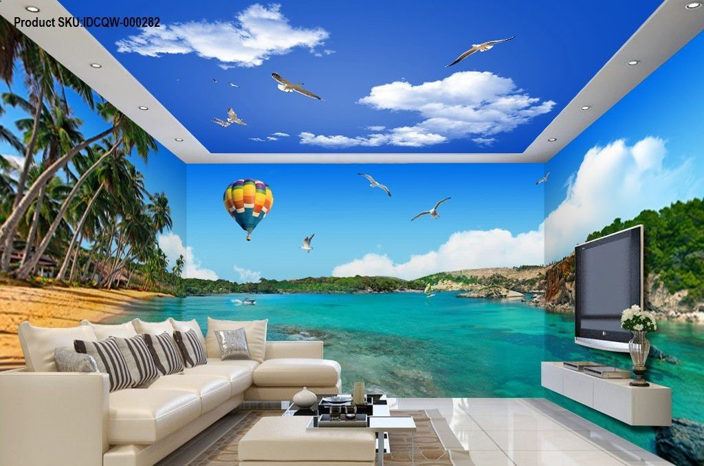 3D Palm Bay Beach Hot Airballoon Entire Living Room Business