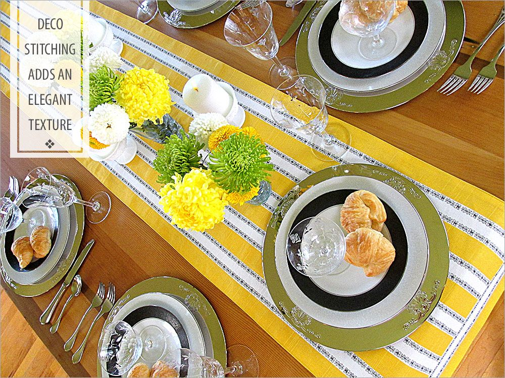 Decorative Stitched Striped Table Runner Tutorial. Beautiful application of decorative machine stitching on plain striped fabric.