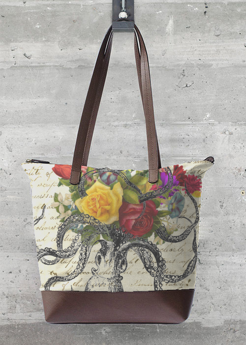 VIDA Tote Bag - Octopus Attacking Flowers by VIDA RTI9WGd1h