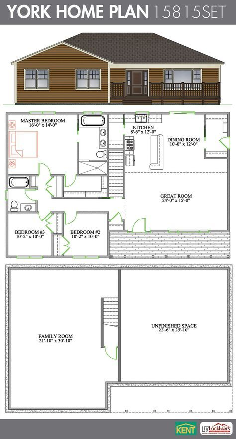 York 3 Bedroom 2 Bathroom Home Plan Features Cathedral Ceiling In The Open Concept Great Room Dining K Bungalow Floor Plans House Plans Bungalow House Plans