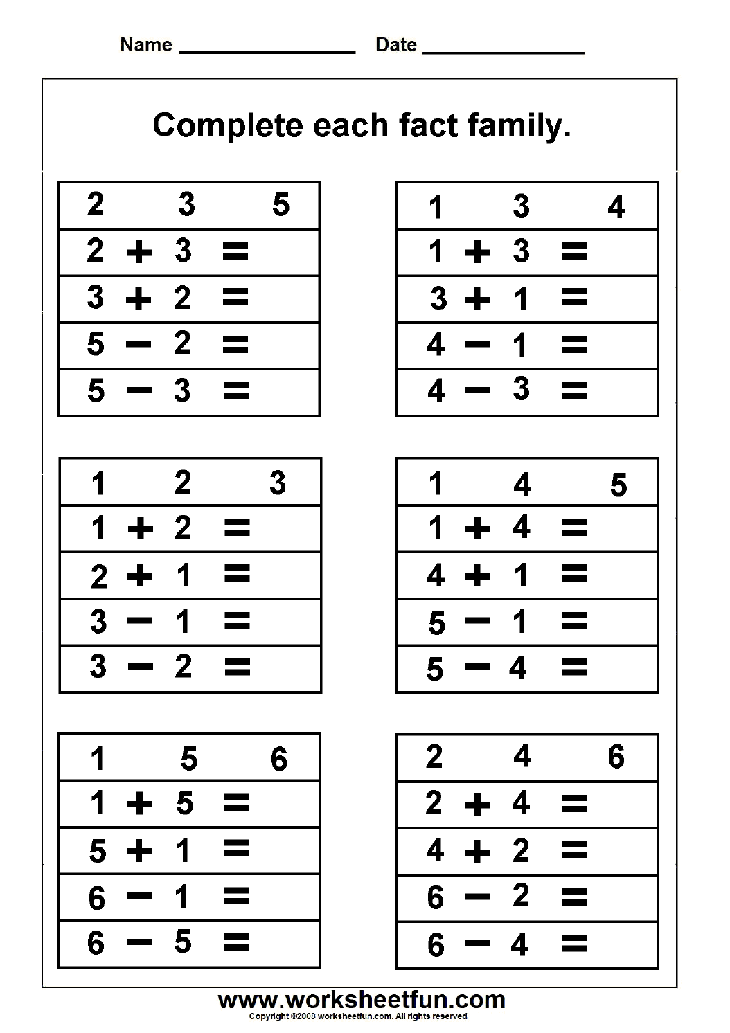 - FREE Math Work Sheets. Great Site! Fact Family Worksheets (With