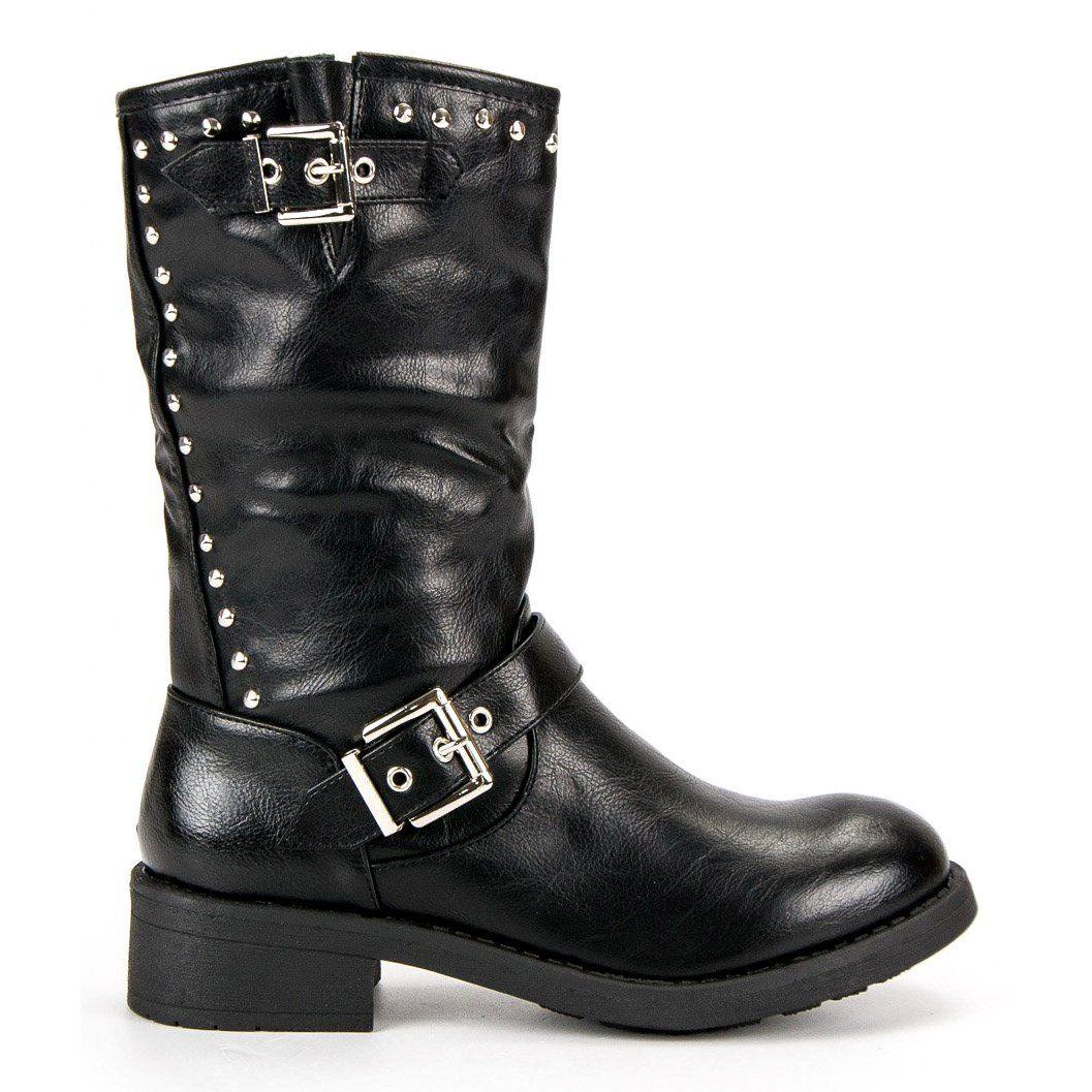 fe8671b03f7c0 Sds Czarne Wysokie Botki Workery | Botki damskie | Boots, Shoes i Biker