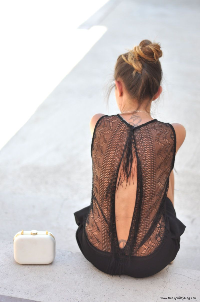 Open back and lace detailing.