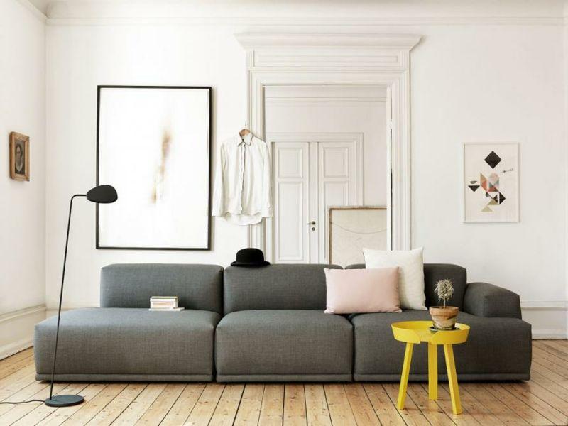 Gelben Tisch Im Wohnzimmer Design Gelb Yellow Innendesign Wohnzimmereinrichtung Graues Sofa Wohnzimmer Einrichten Ideen