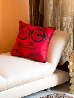 Bicycle Print Cushion Cover