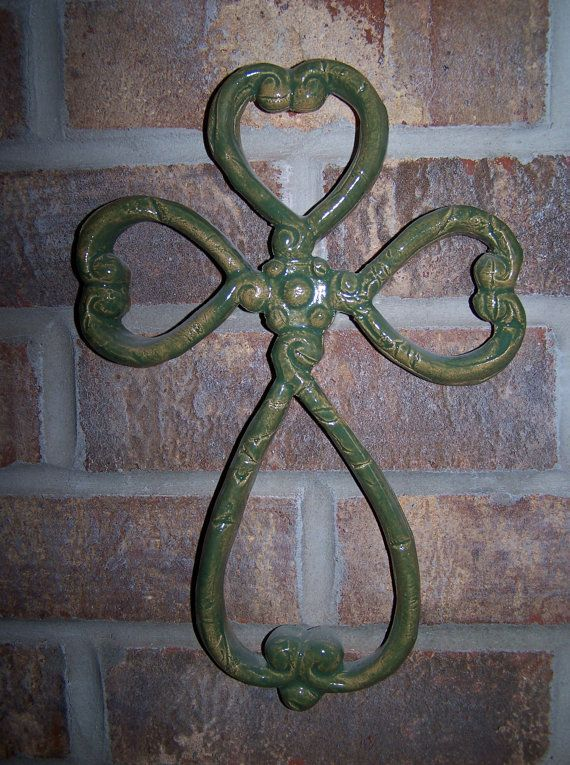 celtic wall art | Green Celtic Cross Wall Art by katesclaythings on ...