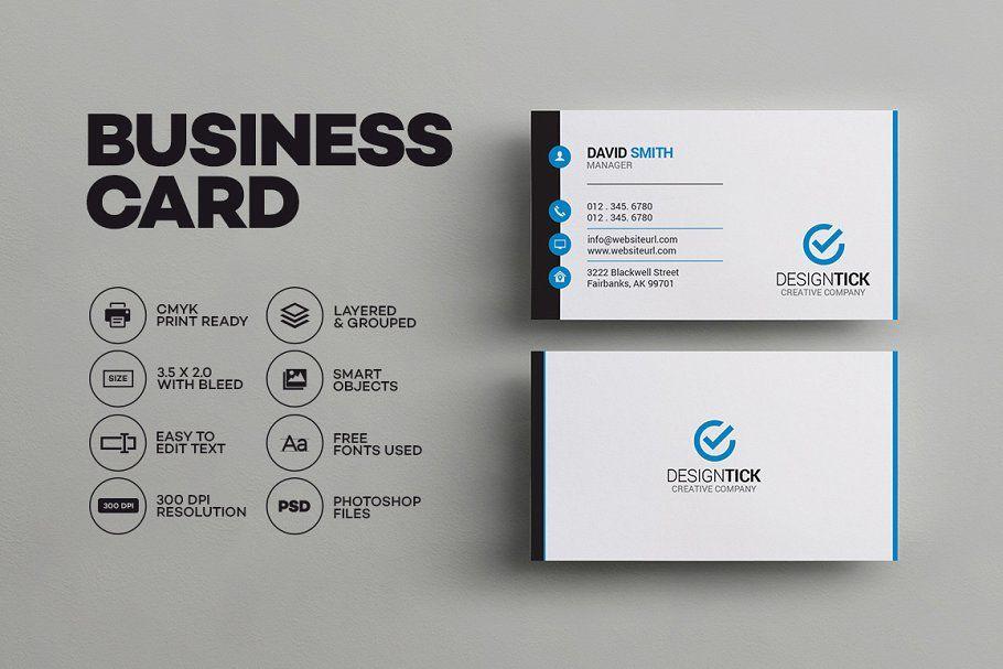 Simple Clean Business Card Clean Simple Business Templates Cleaning Business Cards Business Card Template Word Business Cards Simple