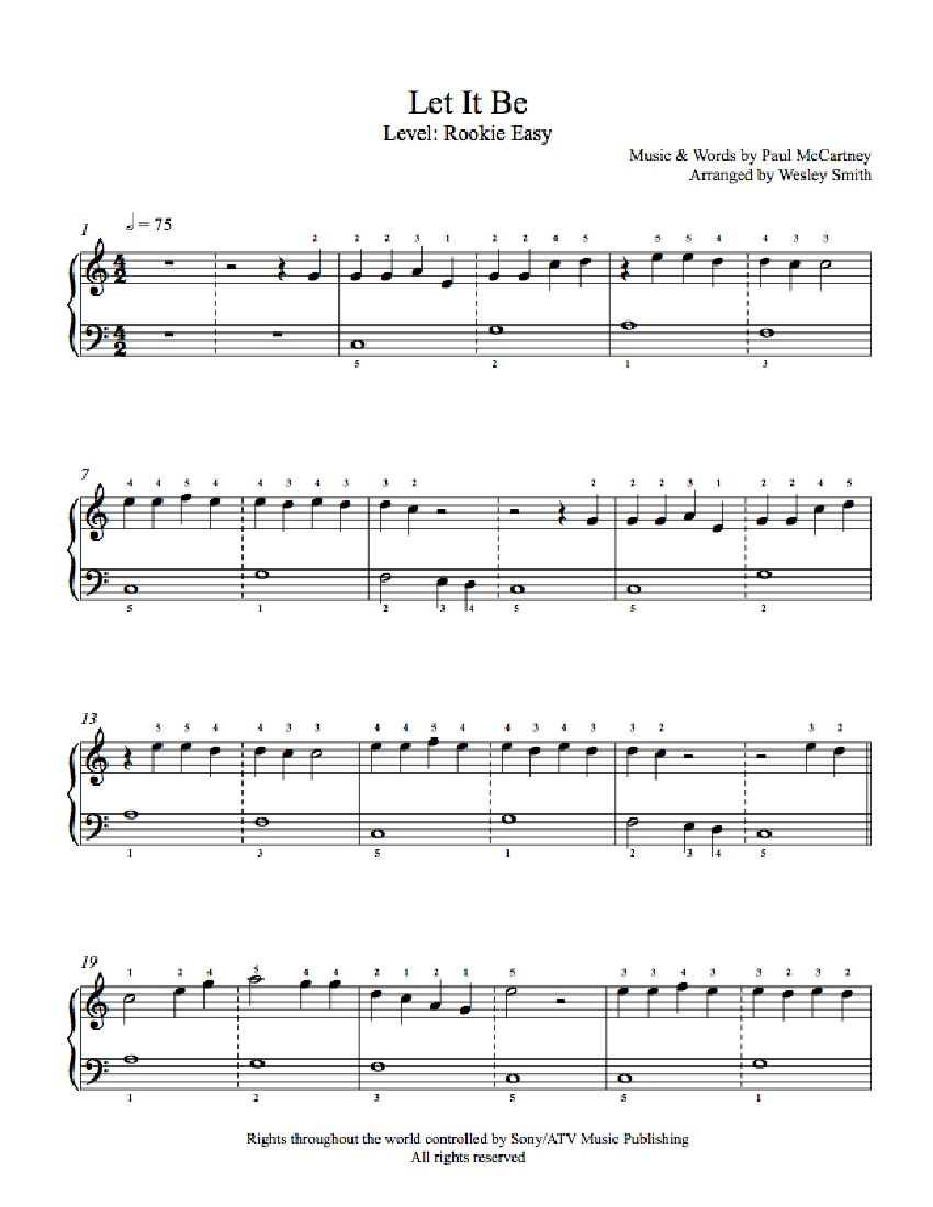 Let It Be By The Beatles Piano Sheet Music Rookie Level Piano