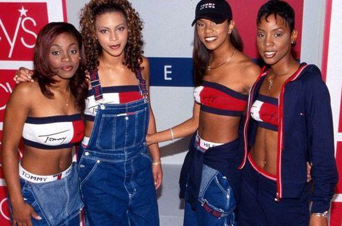 90s TLC wearing overalls | 90s Revival | Moda de los 90, Moda oscura