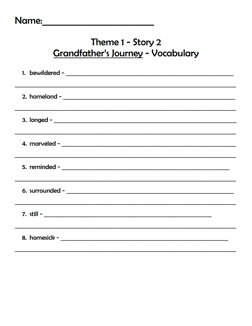 Theme 1 Story 2 Grandfather S Journey Vocabulary Worksheet Pdf Free Ebook  Download From Mv