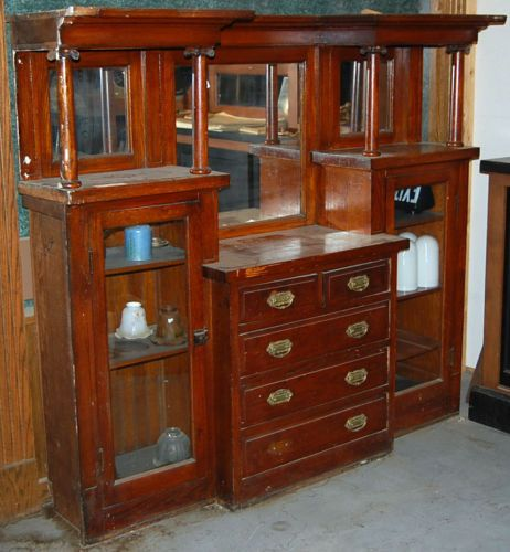 Built In Buffet Dining Room: Antique Built In Cabinet Buffet China Cabinet Bookcase