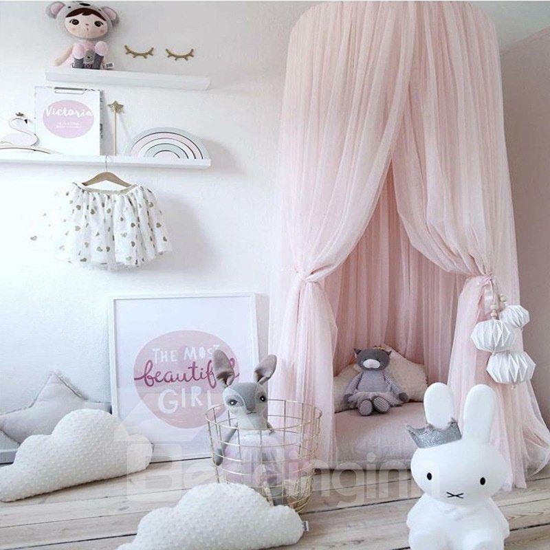 Dreamlike Princess Style Chiffon Fabric Home Decor Kids Pink Round Canopy Girls Bed Canopy Princess Canopy Bed Baby Bed Canopy