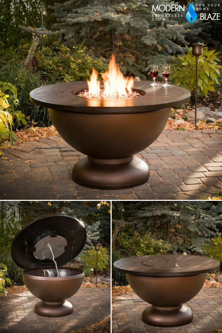 The Penny Bowl Round Gas Fire Pit Table By Cc Products Is A Beautiful Copper Finish Rustic Fire Bowl With A Large Rou Gas Firepit Fire Pit Round Fire Pit Table