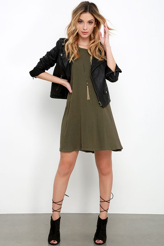 aaa37ab7de Playful Demeanor Olive Green Swing Dress at Lulus.com!