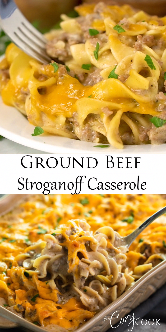 This beef stroganoff casserole recipe is an easy, make-ahead dinner made with ground beef! Plus, no canned soup! #groundbeef #stroganoff #casseroles #dinner #crockpotspaghetti