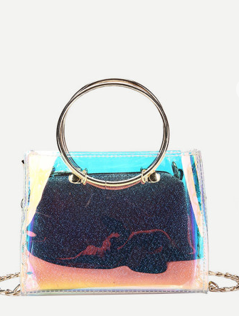 3af1fdfc9c9 Double Ring, Double Duty Holographic Handbag and Clutch ...