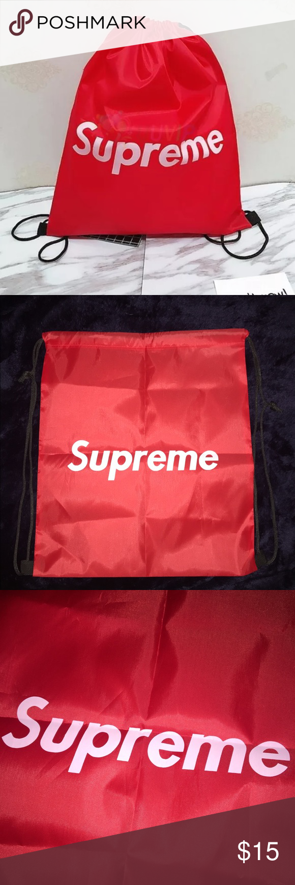 cf559fc5f60a87 Supreme Red Drawstring Bag You will be sent a Supreme Red Drawstring Bag!  Check my love notes for happy customers :) Nice size & good quality.