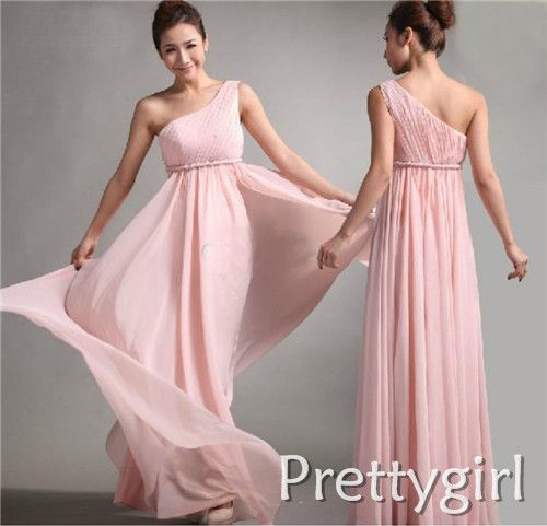 ZJ0119 pink colored long maxi plus size chiffon one shoulder party dresses clothing for brides maid 2013 bridesmaid dress long $49.99 - 54.99