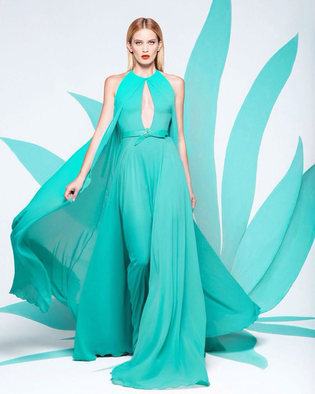 Flow in a sea of Aqua-Green...#GEORGESHOBEIKA Ready-to-Wear SS16.
