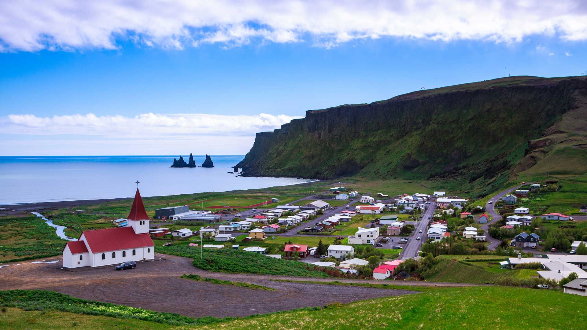 Vik #Iceland The village of Vik is the southernmost village in Iceland, located on the main ring road around the island, around 180 km (110 mi) by road southeast of Reykjavík. Despite its small size (291 inhabitants as of January 2011) it is the largest settlement for some 70 km (43 mi) around and is an important staging post, thus it is indicated on road signs from a long distance away.
