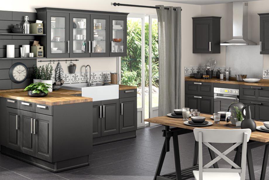 cuisine bistro noir vieilli id es cuisine pinterest cuisine bistro bistro et cuisine lapeyre. Black Bedroom Furniture Sets. Home Design Ideas