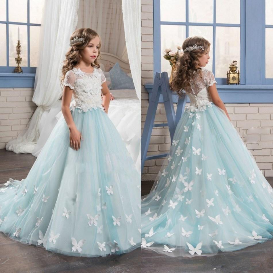 Abao childrenus girlsu turquoise elegant lace butterfly elegant ball