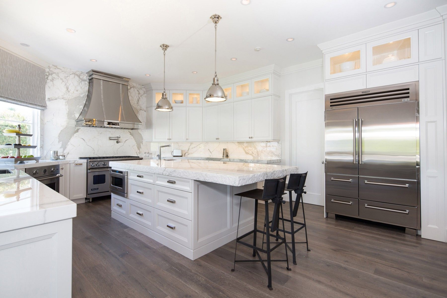 Calabasas white kitchen design with chiseled marble and gorgeous ...