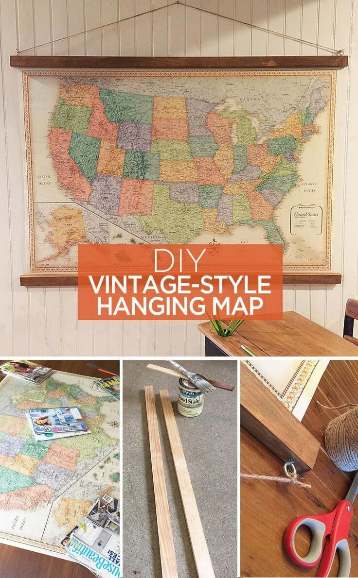 Diy vintagestyle hanging map great ideas to use as home decor or
