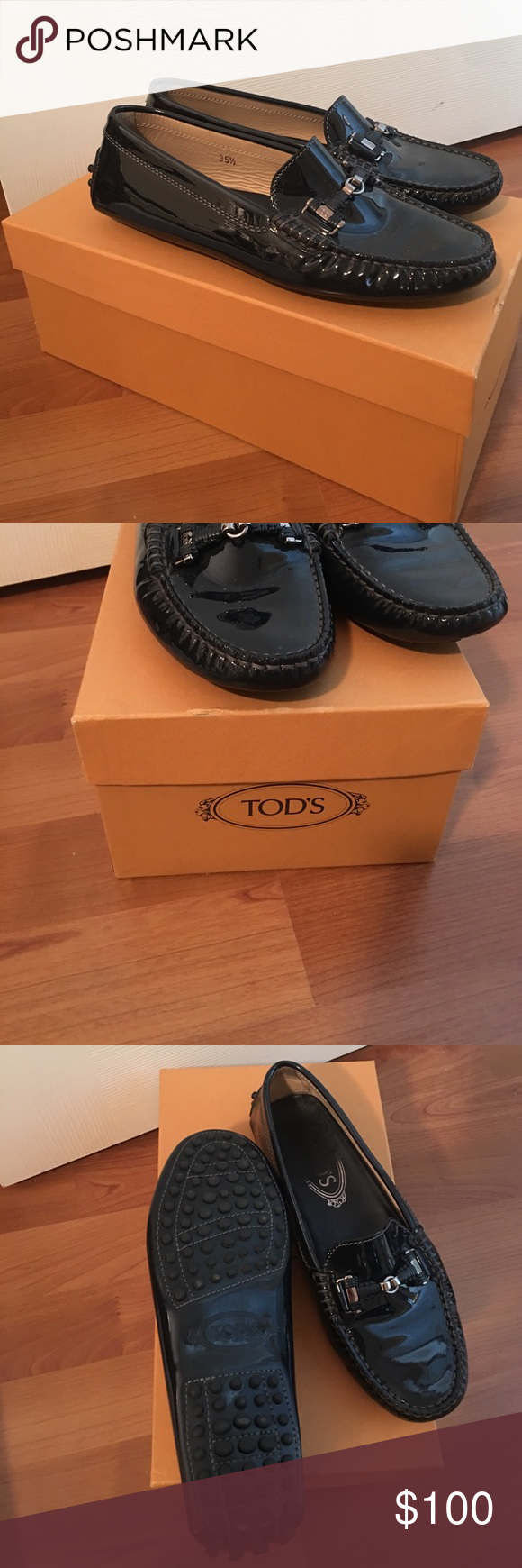 Tod'snavy blue patent leather drivers Lightly used, in great shape! Original box and dust bag included  - Made in Italy Patent leather upper Exposed hand stitching Tod's Double T buckle in branded metal Double fringe Iconic rubber outsole with embossed pebbles Care and mantainence tag included Branded dustbag Tod's Shoes Flats & Loafers
