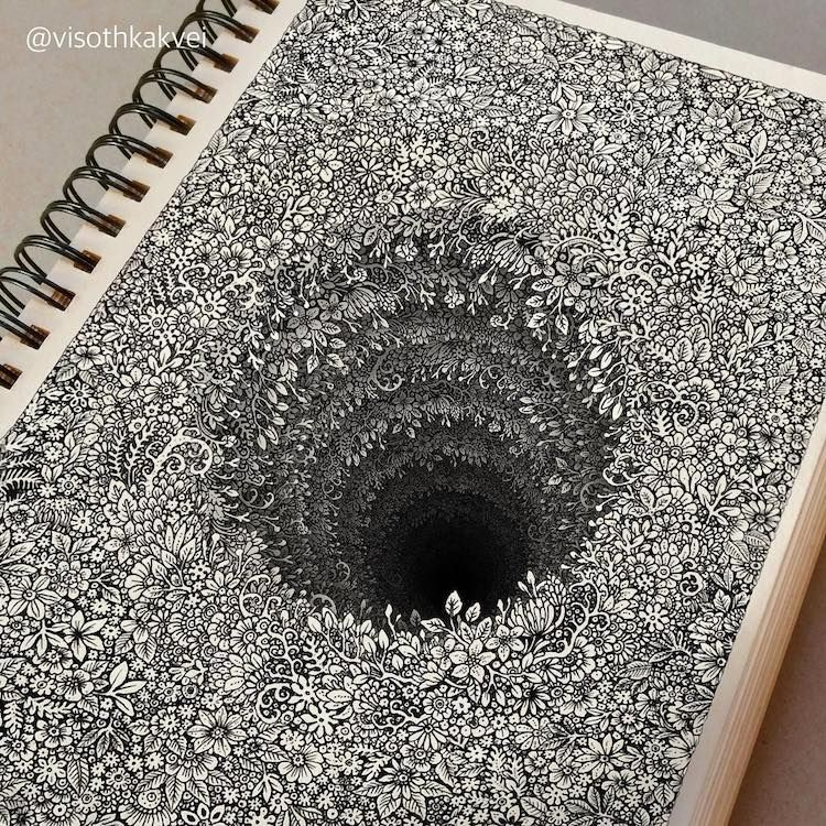 Impossibly Tiny Doodles Fill Sketchbook Pages with Surreal Optical Illusions http://mymodernmet.com/visothkakvei-detailed-drawings/ #art #edchat #tlchat