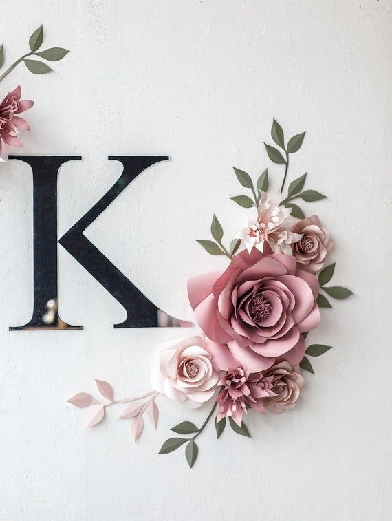 Personalized Paper Flowers Wall Decor - Personalized Nursery Decor - Personalized Nursery Wall Art - Paper Flowers (code:#143)
