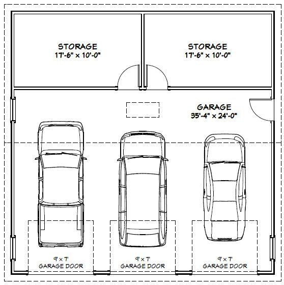 Garage dimensions google search garage designs for Four car garage size