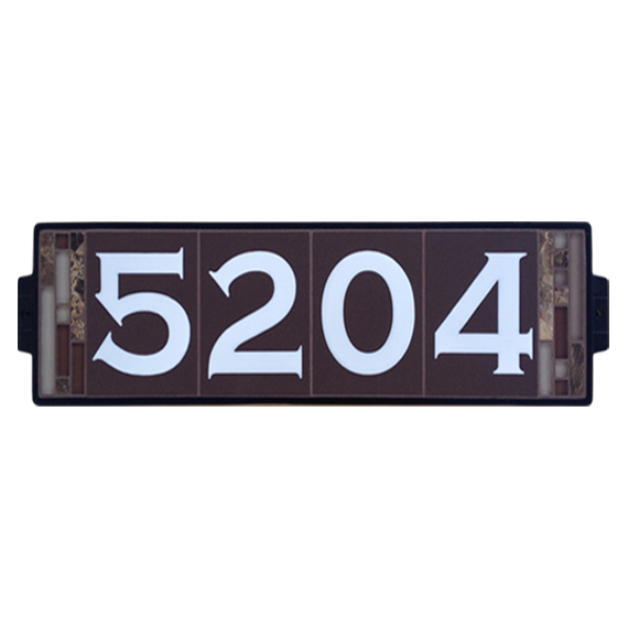 6x 24 house number sign suitable for 3 5 digit addresses featuring glossy white numbers highly visible even at night on a dark brown porcela