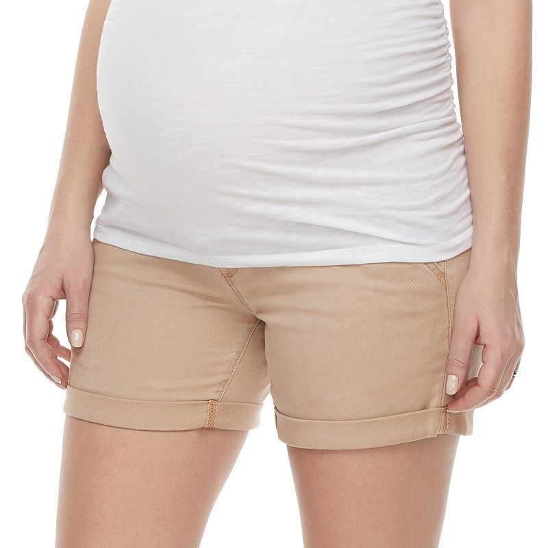 deb89d3d377e4 Maternity a:glow Belly Panel Cuffed Twill Shorts, Women's, Size: 1