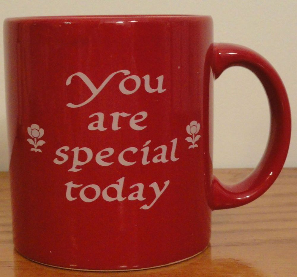 WAECHTERSBACH You Are Special Today Coffee MUG Bright CHERRY RED Glaze Germany #Waechtersbach & WAECHTERSBACH You Are Special Today Coffee MUG Bright CHERRY RED ...