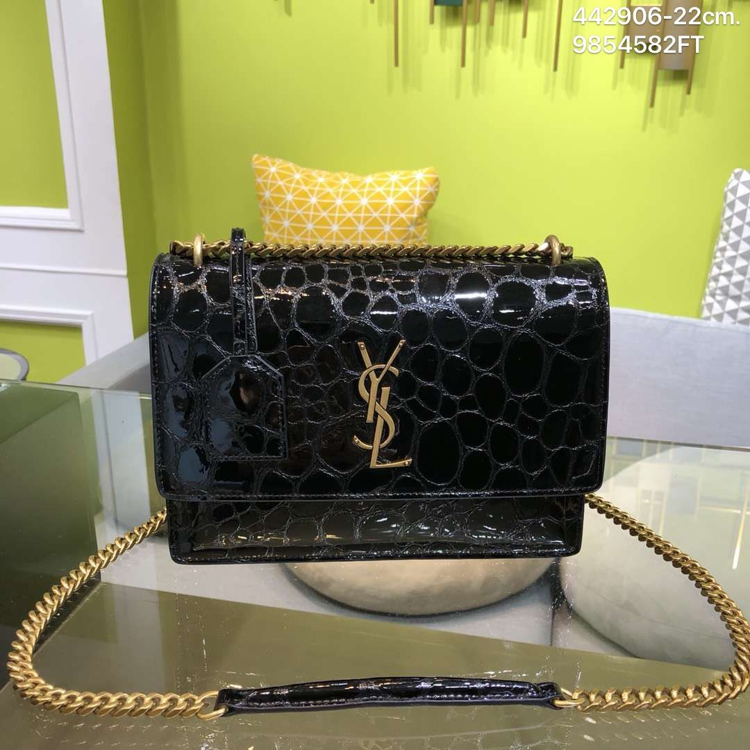 5c6af6a9aab Ysl Saint Laurent woman 2019 sunset chain shoulder bag in turtle-embossed  patent leather black