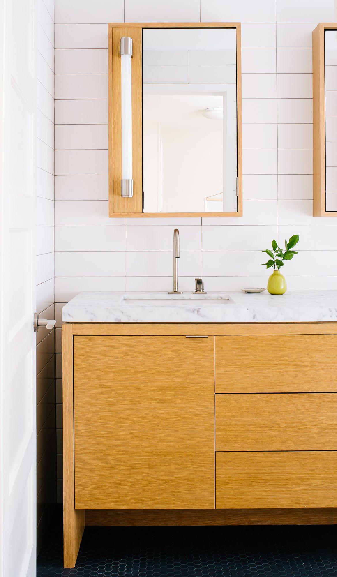 bathroom with custom oak vanity and medicine cabinet
